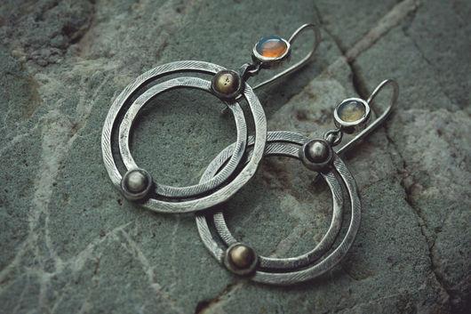 Серьги ручной работы. Ярмарка Мастеров - ручная работа. Купить Equinox. Handmade. Серебро, mixed metal, длинные серьги, equinox