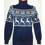 Одежда ручной работы. Ярмарка Мастеров - ручная работа Свитер с оленями и норвежским орнаментом Снежный олень. Handmade.