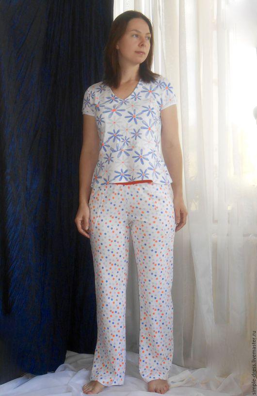 Комфортная женская пижама с широкими брюками с карманами поможет расслабится и почувствовать домашний уют и тепло