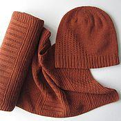Аксессуары ручной работы. Ярмарка Мастеров - ручная работа Комплект: шапка и шарф из пряжи с кашемиром. Handmade.