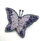 handmade. Livemaster - original item Brooch-pin: BUTTERFLY light purple. Bead embroidery.. Handmade.