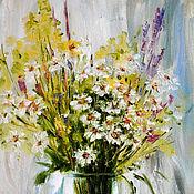 Картины и панно ручной работы. Ярмарка Мастеров - ручная работа Букет полевых цветов, картина маслом. Handmade.