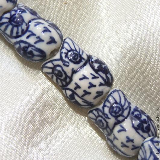 Для украшений ручной работы. Ярмарка Мастеров - ручная работа. Купить СОВА бело-синие фарфоровые бусины. Handmade. для колье