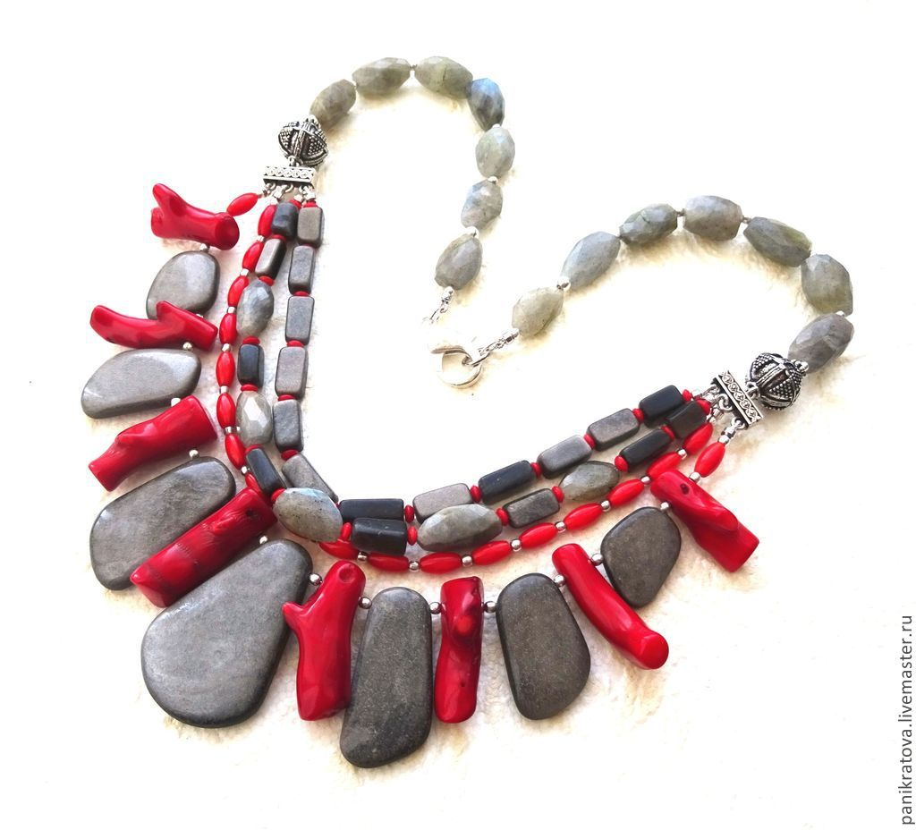 Necklace 'once again about love' (obsidian,coral, labradorite, silver), Necklace, Moscow,  Фото №1