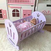 Мебель для кукол ручной работы. Ярмарка Мастеров - ручная работа Кроватка колыбель для кукол. Кукольная мебель. Handmade.