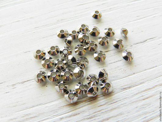 Бусина металлическая спейсер (разделитель бусин), размер 4 мм, отверстие 4 мм, цвет ПЛАТИНА, материал - латунь (арт. 2045-С)