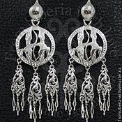 Украшения ручной работы. Ярмарка Мастеров - ручная работа Серьги с парой танцующих стерхов (1123) серебро 925. Handmade.