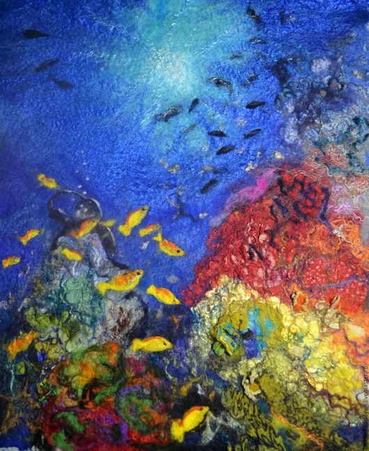 """Натюрморт ручной работы. Ярмарка Мастеров - ручная работа. Купить Картина из шерсти """"Подводный мир"""". Handmade. Комбинированный, дайвинг, водолаз"""