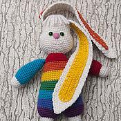 Куклы и игрушки ручной работы. Ярмарка Мастеров - ручная работа Вязаная игрушка заяц Радужный.. Handmade.