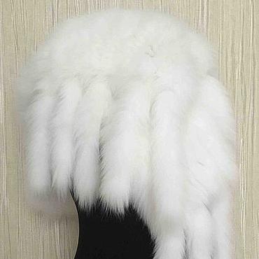 Аксессуары ручной работы. Ярмарка Мастеров - ручная работа Палантин вязаный из меха песца белый. Handmade.