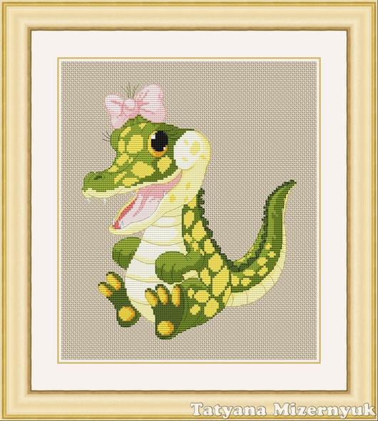 """Вышивка ручной работы. Ярмарка Мастеров - ручная работа. Купить Схема для вышивки крестиком """"Крокодил девочка"""". Handmade."""