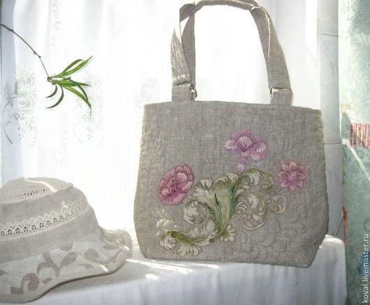 Льняная сумка `ЦВЕТЫ`
