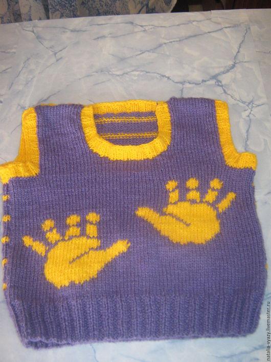 Одежда унисекс ручной работы. Ярмарка Мастеров - ручная работа. Купить Детский жилет со следами вязаный. Handmade. Комбинированный