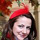 Шляпы ручной работы. Ярмарка Мастеров - ручная работа. Купить Шляпка бархатная с вуалью. Красная. Handmade. Ярко-красный, вуалетка