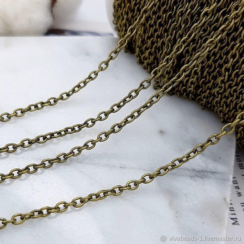 1m Chain 3x2x0.5 mm color bronze (2880), Chains, Voronezh,  Фото №1