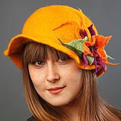 """Аксессуары ручной работы. Ярмарка Мастеров - ручная работа Желтая шляпка с """"космическим"""" цветком. Handmade."""