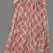 Одежда ручной работы. Ярмарка Мастеров - ручная работа Юбка длинная в клетку полусолнце серая.. Handmade.