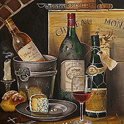Картины ручной работы. Ярмарка Мастеров - ручная работа Картина масло холст Натюрморт Старое вино. Погребок. Handmade.