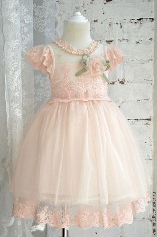 Одежда для девочек, ручной работы. Ярмарка Мастеров - ручная работа. Купить Платье с брошью розовое 100-110. Handmade. Цветочный