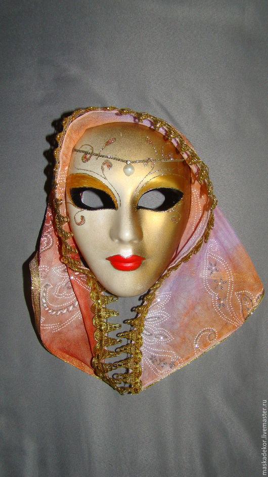 Интерьерные  маски ручной работы. Ярмарка Мастеров - ручная работа. Купить Амира. Handmade. Бежевый, венецианская маска, маски, цепочка