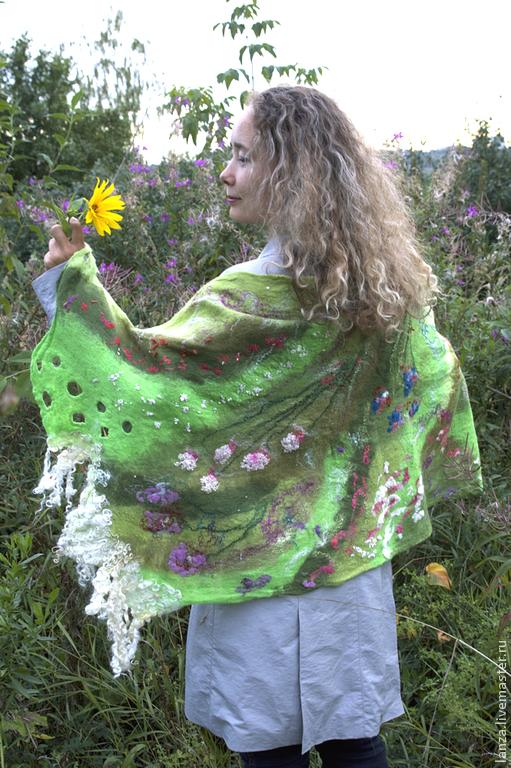 """Шали, палантины ручной работы. Ярмарка Мастеров - ручная работа. Купить Палантин-шарф  """"Грезы лесной нимфы"""". Handmade. Зеленый"""