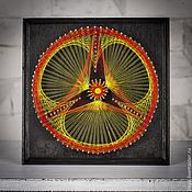 """Картины и панно ручной работы. Ярмарка Мастеров - ручная работа картина """"радиационное солнце"""" в стиле стринг арт. Handmade."""