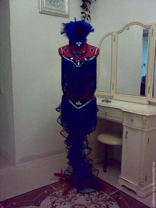 Танцевальные костюмы ручной работы. Ярмарка Мастеров - ручная работа. Купить Костюм для бразильской самбы. Handmade. Синий, однотонный, бахрома