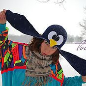 """Аксессуары ручной работы. Ярмарка Мастеров - ручная работа Шапка валяная, шапка с ушками """"Пингвин пилот"""". Handmade."""