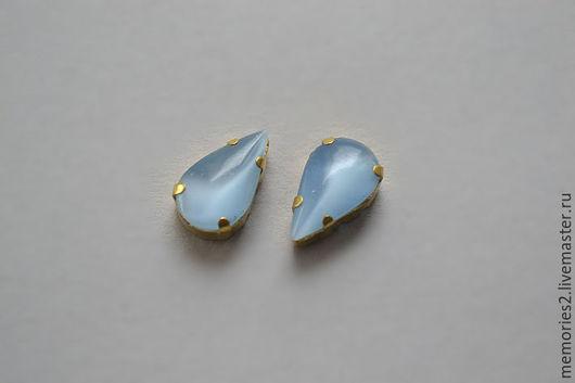 Для украшений ручной работы. Ярмарка Мастеров - ручная работа. Купить Винтажные стразы 13х8 мм цвет Blue Moonstone. Handmade.