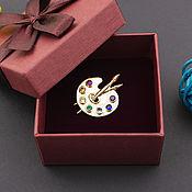 Украшения handmade. Livemaster - original item brooches: Palette brooch with gilding. Handmade.