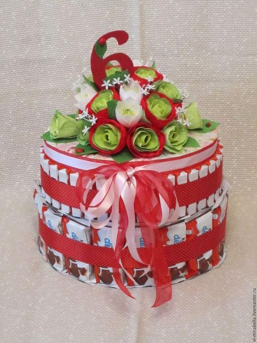 Кулинарные сувениры ручной работы. Ярмарка Мастеров - ручная работа. Купить Киндер торт из шоколада для девочки. Handmade. Комбинированный