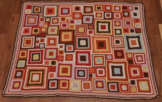 """Текстиль, ковры ручной работы. Ярмарка Мастеров - ручная работа. Купить Кантри-плед """"Осенний"""". Handmade. Плед крючком"""