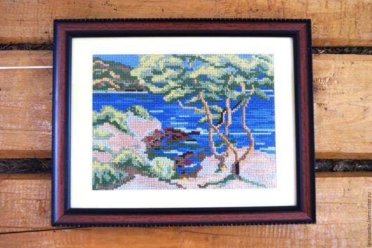Пейзаж ручной работы. Ярмарка Мастеров - ручная работа. Купить Вышитая крестом картина Прибрежный пейзаж. Handmade. Вышивка, лето