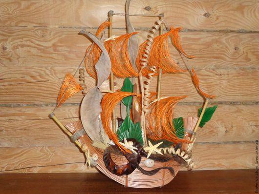 Интерьерные композиции ручной работы. Ярмарка Мастеров - ручная работа. Купить Кораблик из сухоцветов.. Handmade. Оранжевый, сухоцветы, подарок мужчине