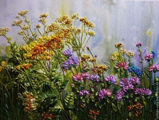 картина вышитая, картина вышитая лентами, цветы вышитые, вышивка, вышивка летами
