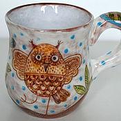 Посуда ручной работы. Ярмарка Мастеров - ручная работа Кружка сова УУУУХ!!!Сlay cup handmade. Handmade.