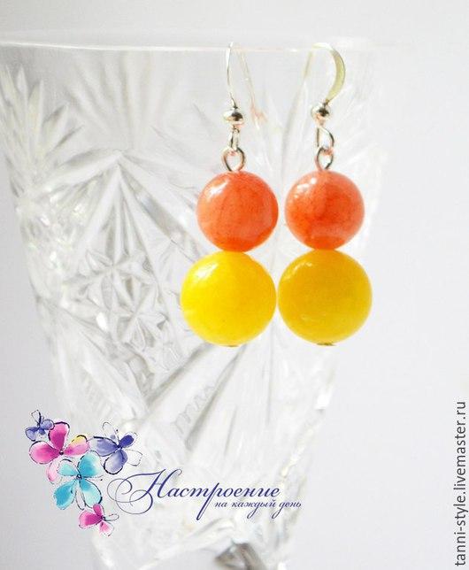 Серьги ручной работы. Ярмарка Мастеров - ручная работа. Купить Яркие цветные летние серьги! Оранжевый и желтый. Handmade.