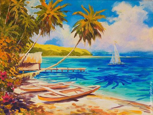 """Пейзаж ручной работы. Ярмарка Мастеров - ручная работа. Купить """"Тропический рай"""" картина маслом на холсте. Handmade. Картина море"""