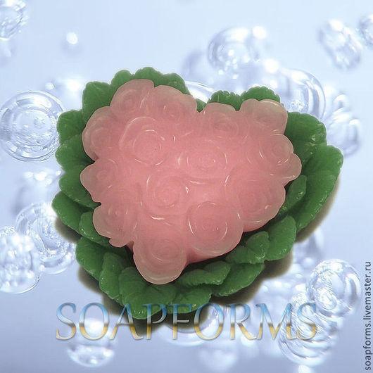 """Силиконовая форма для мыла """"Сердце из роз"""""""