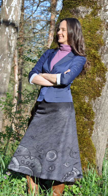 """Юбки ручной работы. Ярмарка Мастеров - ручная работа. Купить Валяная юбка """"Река времени"""". Handmade. Серый, юбка"""