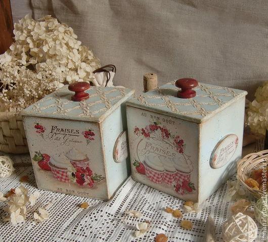 """Кухня ручной работы. Ярмарка Мастеров - ручная работа. Купить Короб """"Клубничный десерт"""". Handmade. Короб для хранения, коробка для мелоей"""