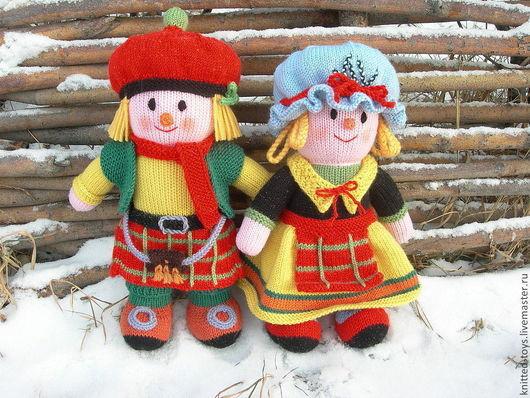 Человечки ручной работы. Ярмарка Мастеров - ручная работа. Купить Вязаные куклы из шерсти Он и Она. Handmade. Вязаные игрушки