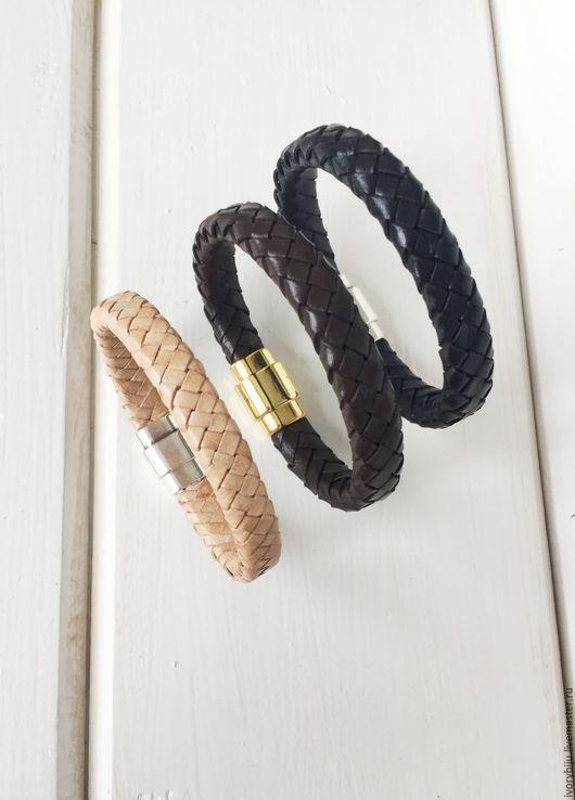 Браслеты ручной работы. Ярмарка Мастеров - ручная работа. Купить Мужской браслет из плетеной кожи, черный, коричневый. Handmade. Черный