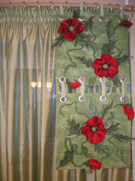 """Текстиль, ковры ручной работы. Ярмарка Мастеров - ручная работа. Купить Комплект штор """"МАКИ"""". Handmade. Зеленый, люверсы"""