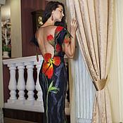 Одежда ручной работы. Ярмарка Мастеров - ручная работа Маки платье вечернее с открытой спиной, длинное. Handmade.