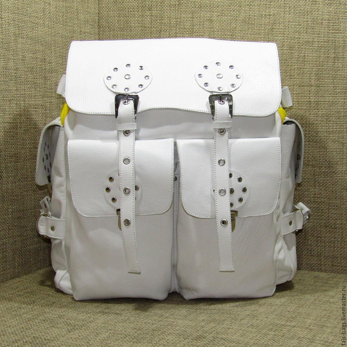 Womens leather backpack white CLOUD, Backpacks, Izhevsk,  Фото №1
