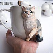 Посуда handmade. Livemaster - original item Mug with cat decor. Handmade.
