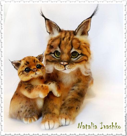 Игрушки животные, ручной работы. Ярмарка Мастеров - ручная работа. Купить Кошка-Рысь с малышом. Handmade. Рысь, коллекционные игрушки
