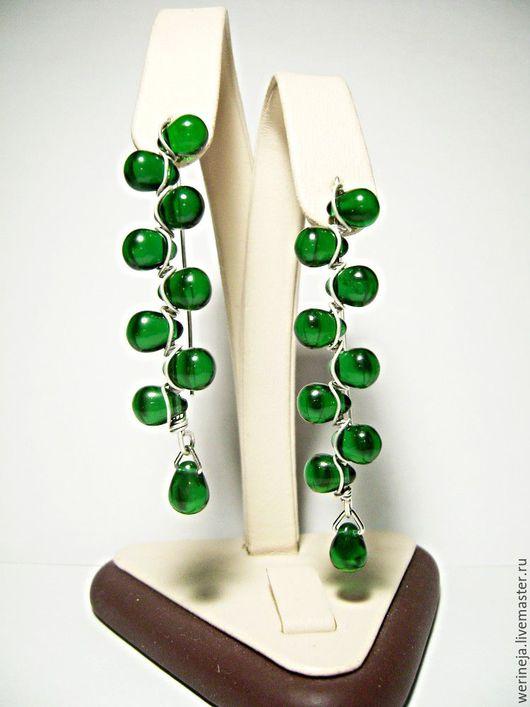 Серьги ручной работы. Ярмарка Мастеров - ручная работа. Купить Серьги из чешского стекла-зелёные. Handmade. Зеленый, серьги