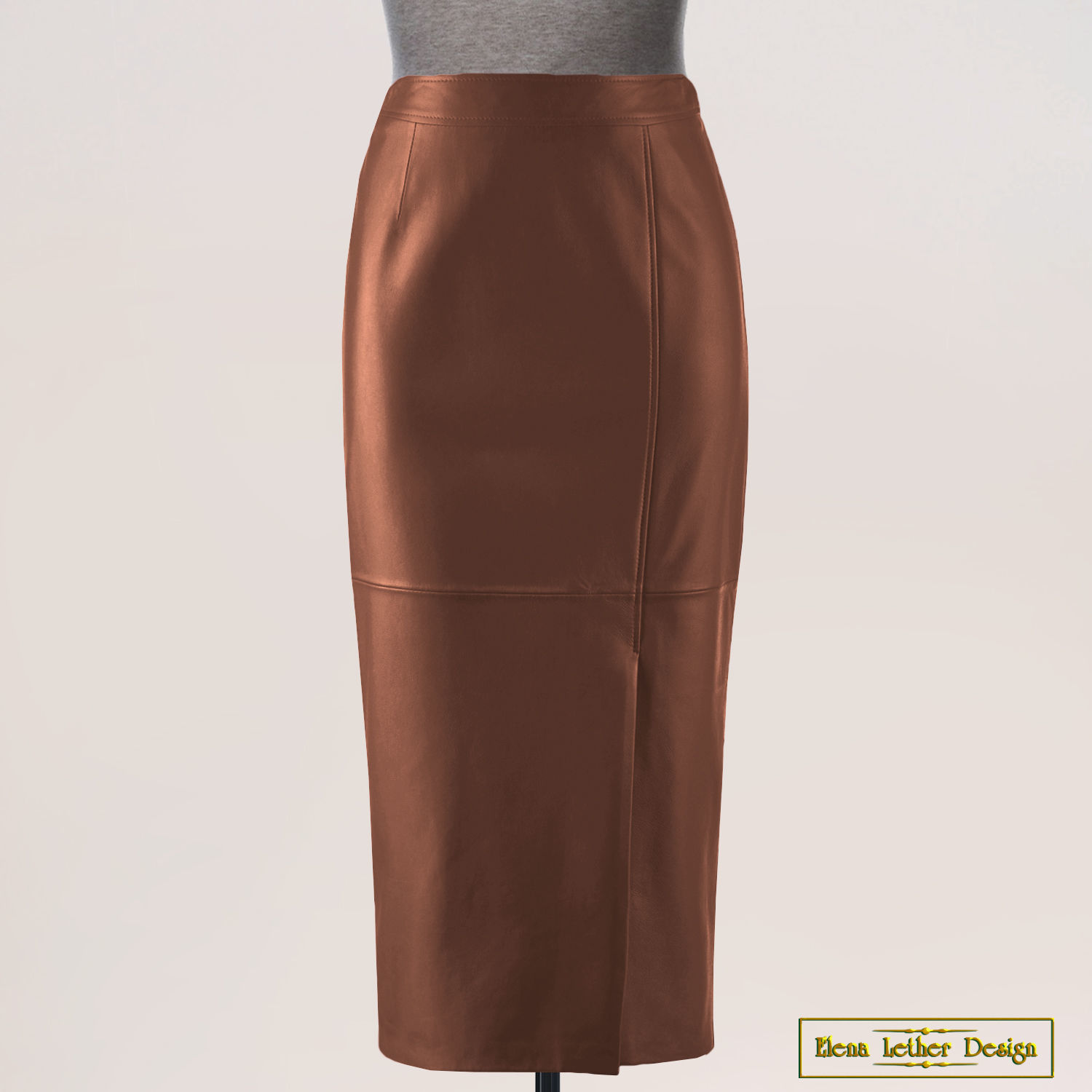 Pencil skirt 'Narrowed' with a slot, made of genuine leather, Skirts, Rodniki,  Фото №1